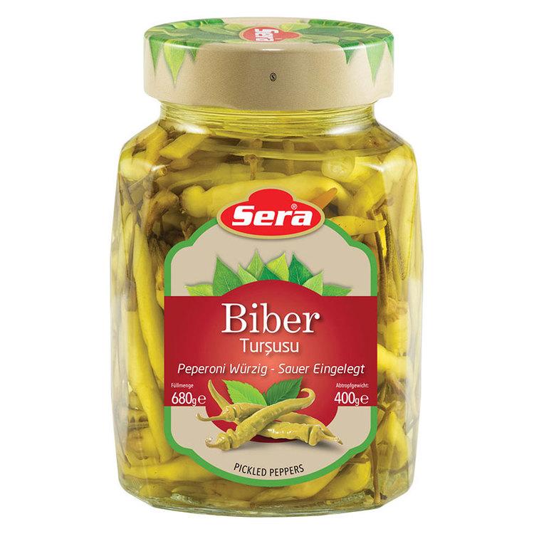 Inlagda feferoni mild. Färdig att servera. Produkt av Turkiet.