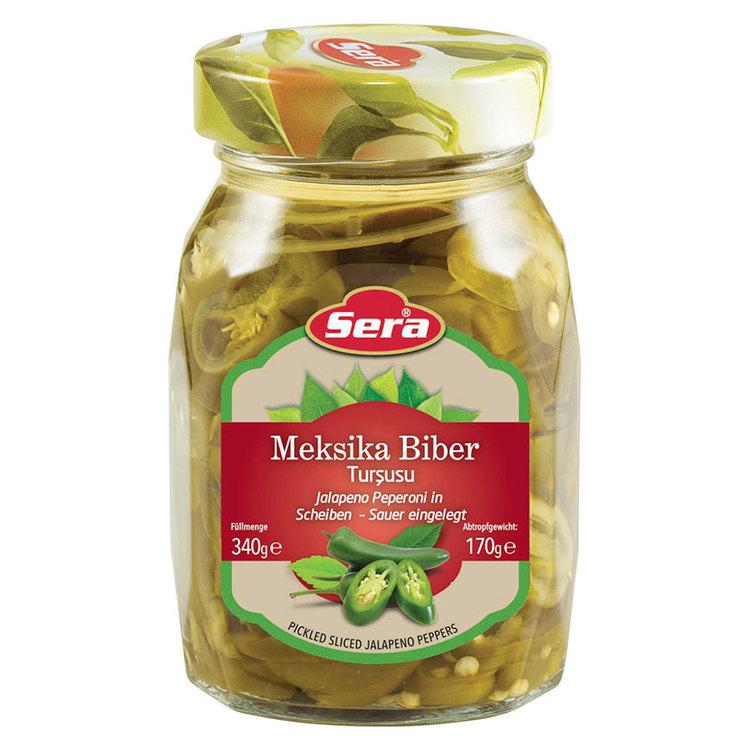 340g Skivad jalapeno från Sera. Heta chilis, goda att äta precis som de är eller i en kryddig salsa.