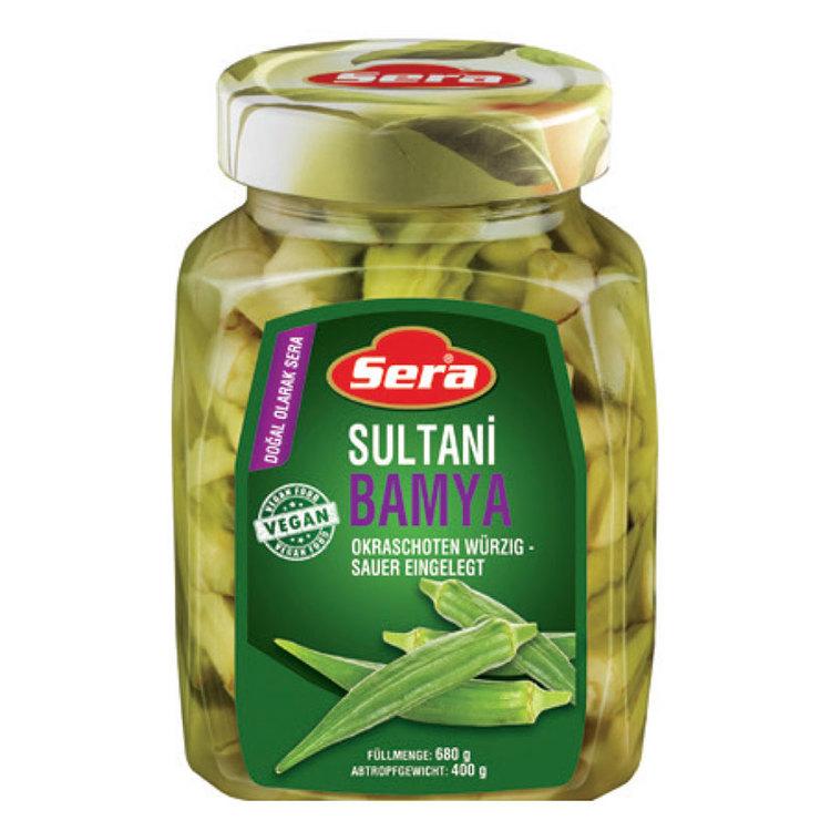 Konserverade okra från Sera. Produkt av Turkiet.