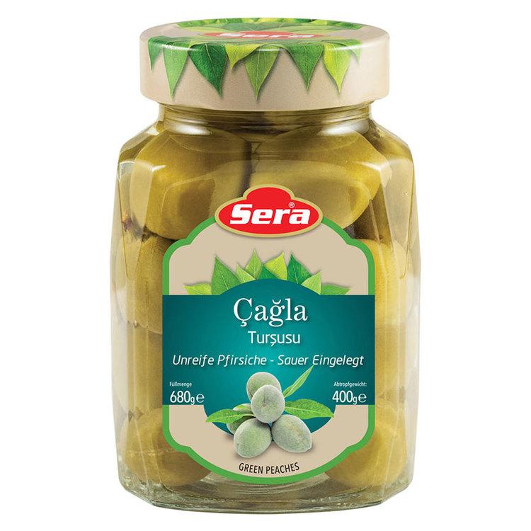 Inlagda gröna mandlar från Sera. Produkt av Turkiet.