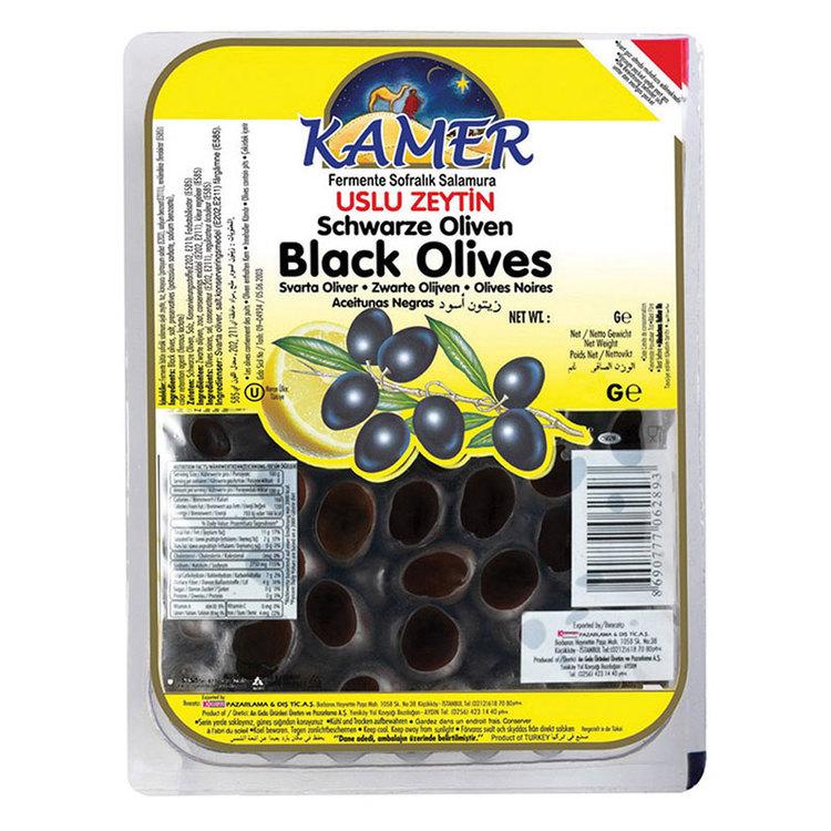 Vakuumförpackade svarta oliver från Kamer. Produkt från Turkiet.
