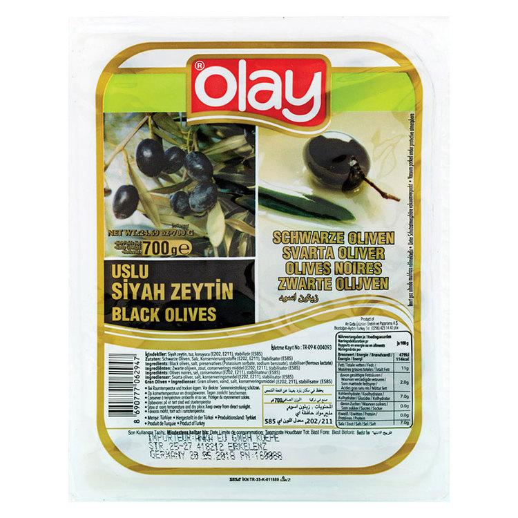 Vakuumförpackade svarta oliver från Olay. Produkt från Turkiet.