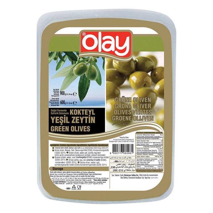 Vakuumförpackade gröna oliver från Olay. Produkt från Turkiet.