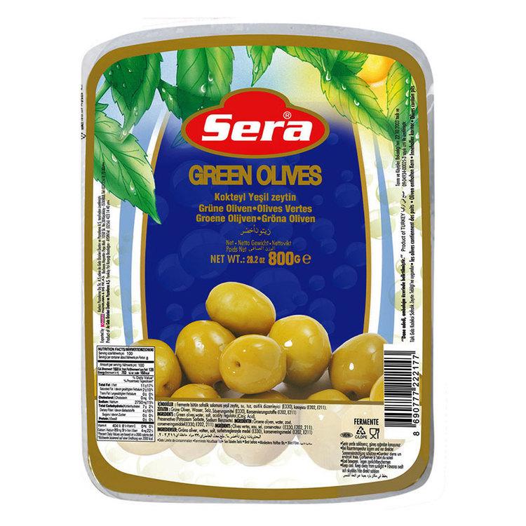 Turkiska gröna oliver vakuumförpackad från Sera. Produkt från Turkiet. Best Turkish Olives Products Brand.