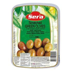 Gröna oliver snittade vakuumförpackad 400g