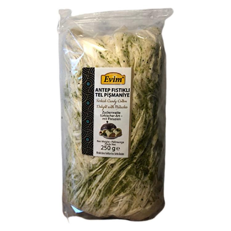 Turkisk sockervadd med pistagenötter från Evim. Produkt av Turkiet.