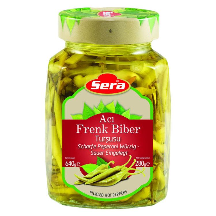 640g Inlagda Starka Feferoni - Frenk från Sera. Produkt Av Turkiet.