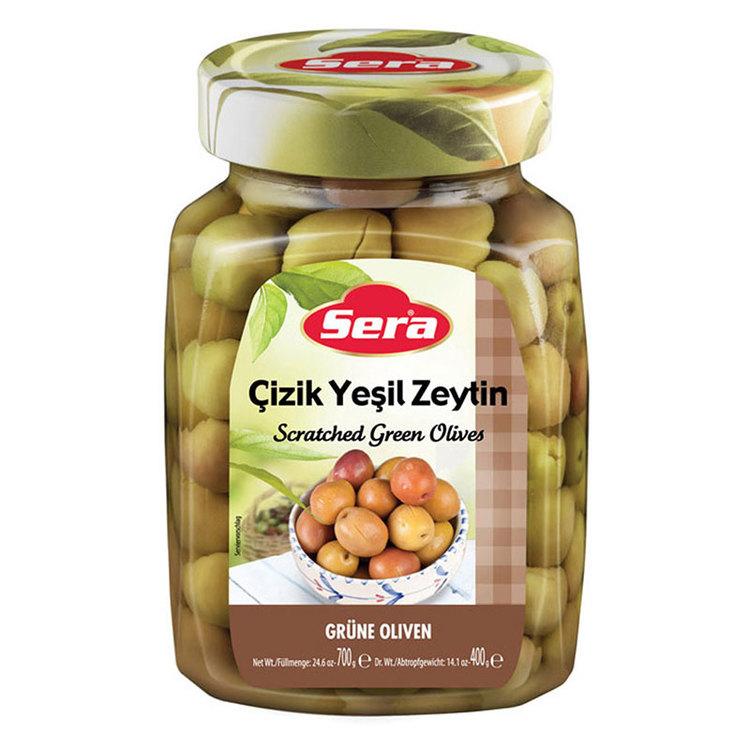 Turkiska gröna snittade oliver från Sera. Produkt från Turkiet. Best Turkish Olives Products Brand.