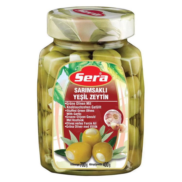 700g Turkiska gröna oliver med vitlök från Sera. Produkt från Turkiet. Best Turkish Olives Products Brand.