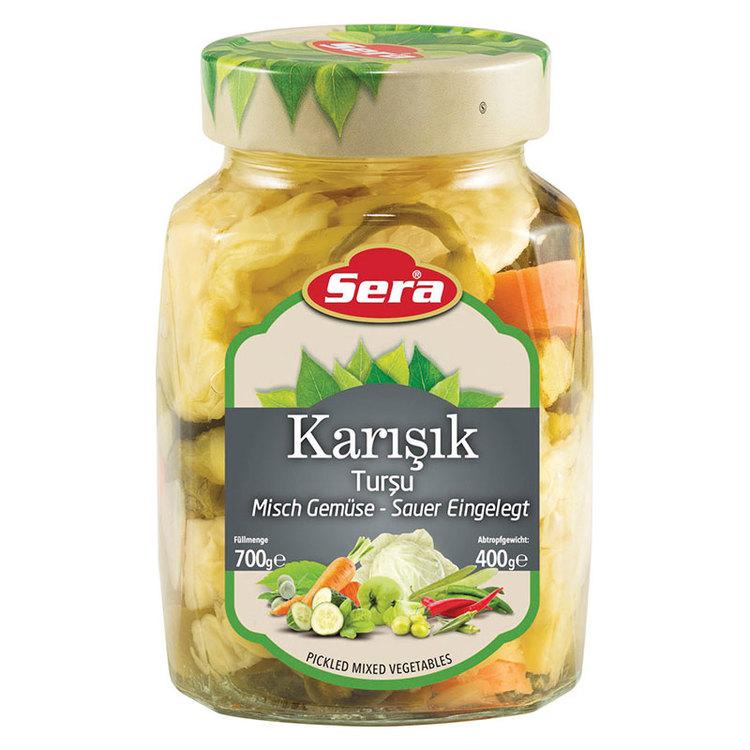 Picklade grönsaker från sera. Produkt av Turkiet.