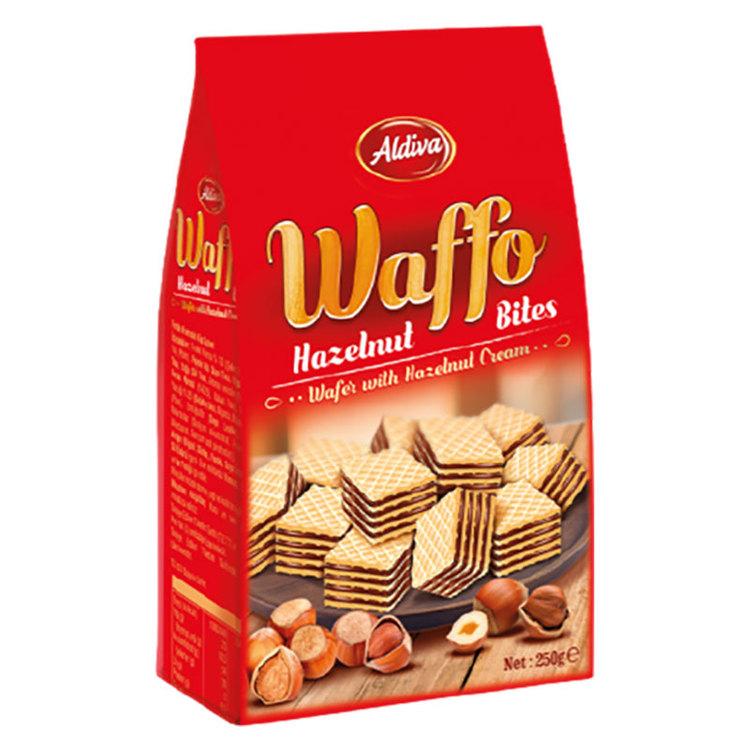 Wafers fylld med hasselnötssmak. Produkt av Turkiet.
