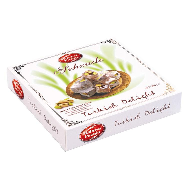 Turkisk konfekt med pistagenötter. En stor delikatess från Mellanöstern, passar utmärkt som tilltugg till te eller kaffe. Produkt från Turkiet.