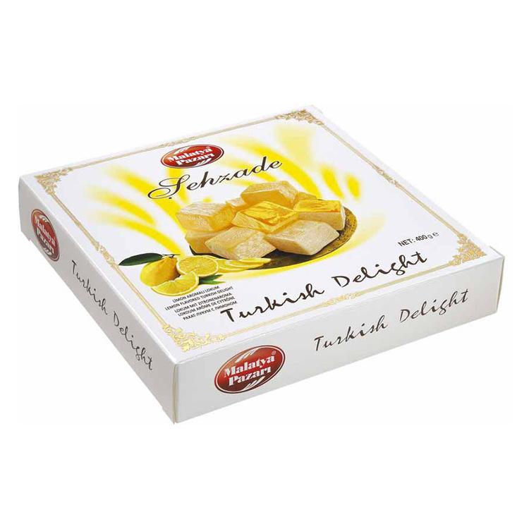 Turkisk konfektyr med citronsmak. En stor delikatess från Mellanöstern passar utmärkt vid alla tillfällen. Produkt ifrån Turkiet.