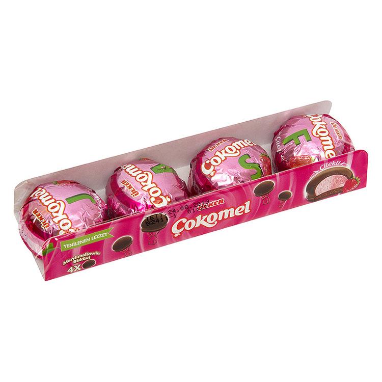 Cokomel med jordgubbssmak - Kakor från Ulker med fluffig marshmallow och sprött chokladtäcke.