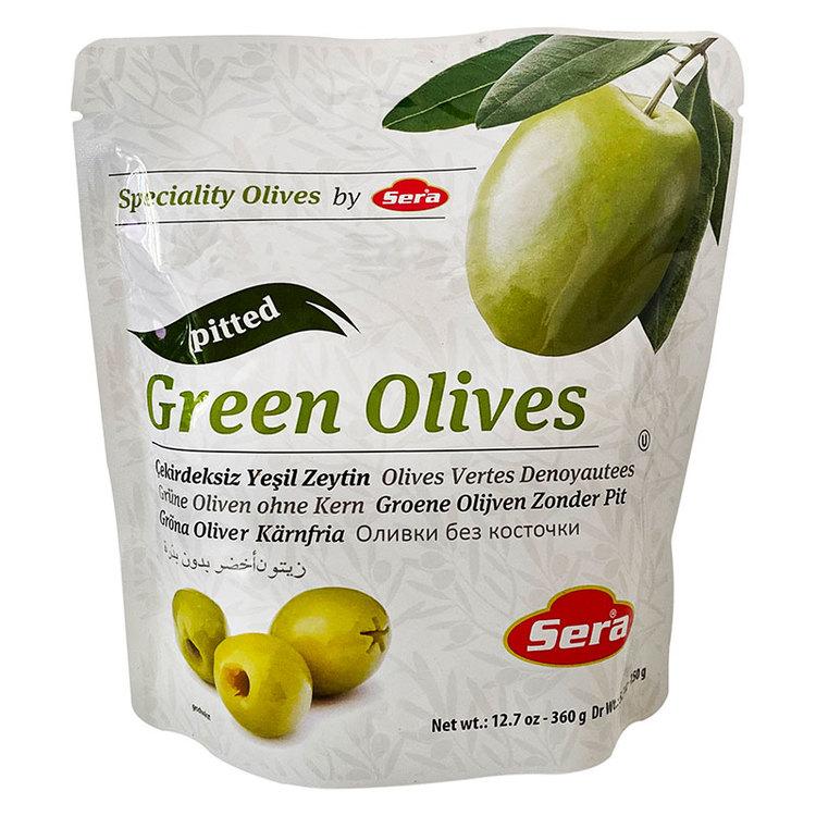 Gröna oliver utan kärnor i påse från Sera. Produkt från Turkiet.