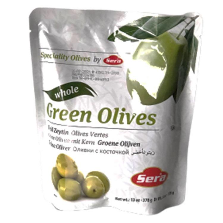 Gröna oliver med kärnor i påse från Sera. Produkt från Turkiet. Best Turkish Olives Products Brand.