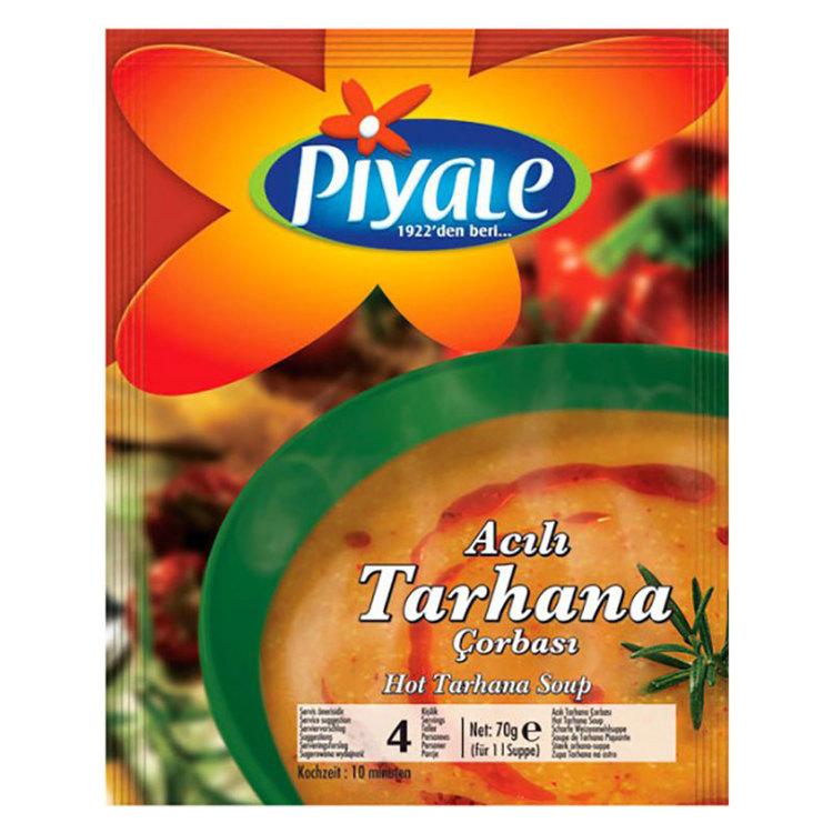 Stark tarhana soppa från Piyale. Soppa med vetemjöl-yoghurt-grönsaker-framställning. Tarhana kommer från Fjärran Östern ... period berättar om en stor krigsherre som åtnjöt måltiden i en fattig familj