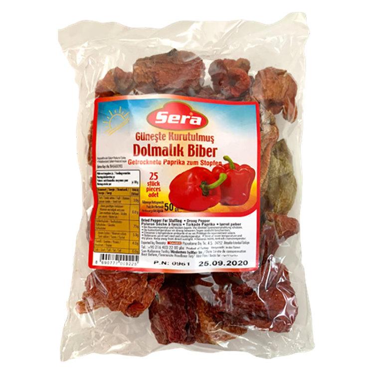 Soltorkad paprika för dolma från Sera. Produkt av Turkiet. Under solen rostade smakliga paprikor. Passar till sallad, med pasta eller som sådan till ett meze bord.