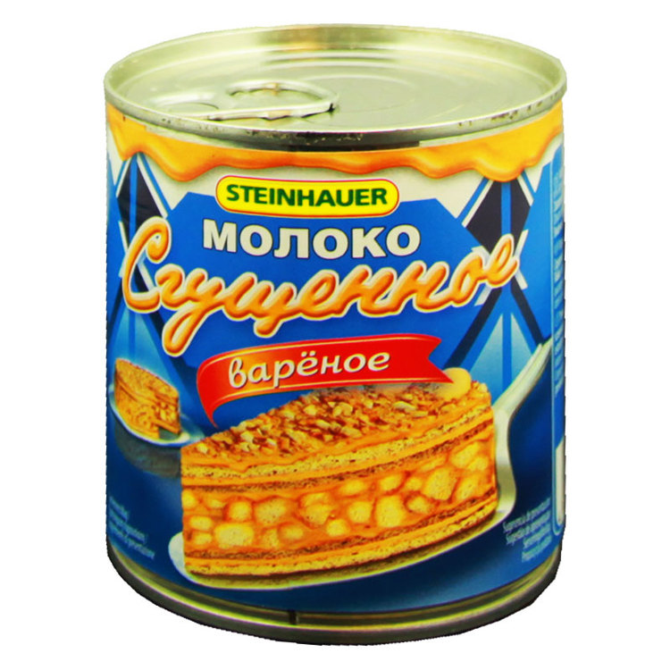 Kondenserad mjölk är mjölk som koncentrerats och därefter har socker tillsatts. Används till bakverk och desserter. Produkt av Ryssland.