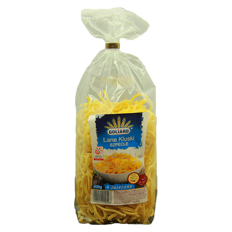 Polska äggnudlar - förberedelse: Häll pastan i kokande saltat vatten, rör om då och då. Efter 10-12 minuter är den redo att serveras.