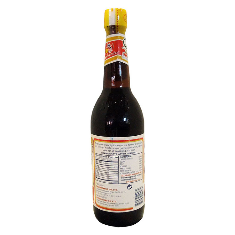 Ingredienser: ostronextrakt 30%, sojasås ( sojabönor, vetemjöl, salt), vatten, socker, salt, modifierad stärkelse (förtjockningsmedel e1414), majsstärkelse, glukonsyrans deltalakton (surhetsreglerande