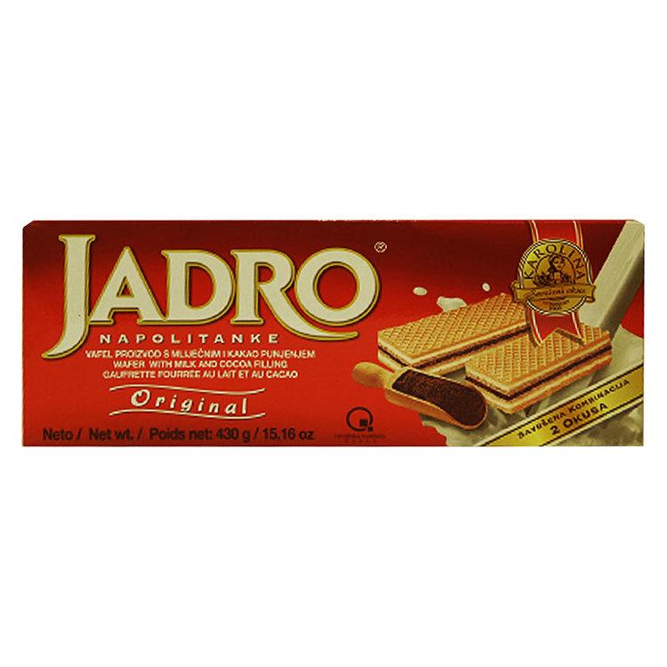 Wafers med mjölk 49% och kakaofyllning 26% från Karolina. Perfekta för utflykten! Produkt från Kroatien.