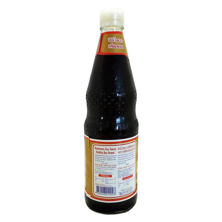 Mushroom soy sauce - sojasås - Ingredienser: sojabönor, svamp, salt och vatten, vetemjöl, socker, konserveringsmedel (e211)