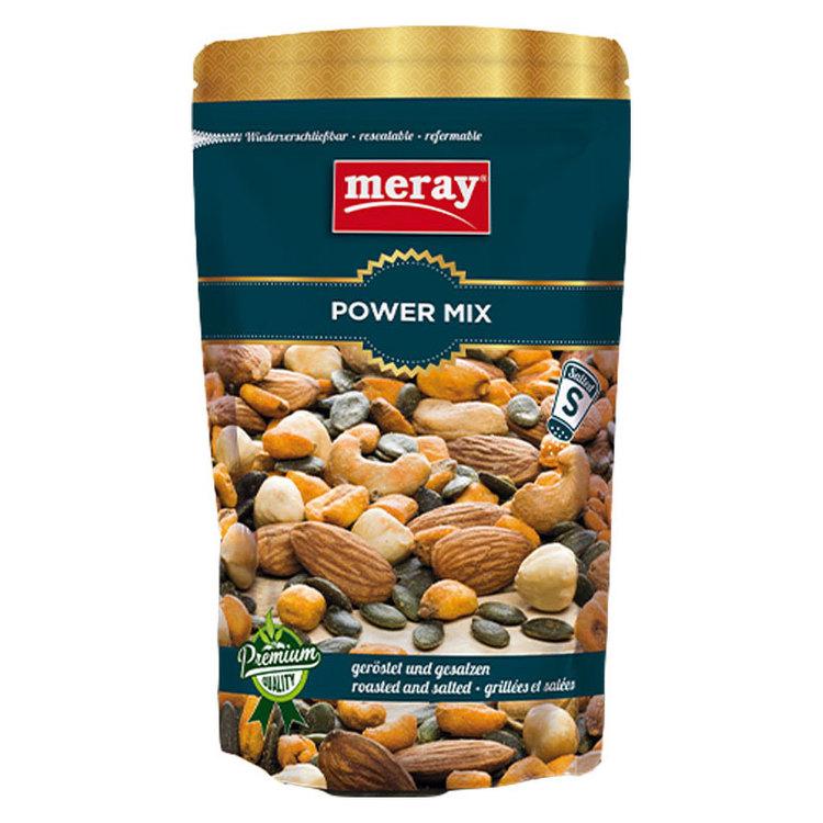 """Merays blandade cocktail """"Power Mix"""", innehåller olika sorters torkade nötter. Den innehåller mandlar, cashewnötter, hasselnötter, skalade pumpafrön och majs med bitter sås. Namnet säger allt ..."""
