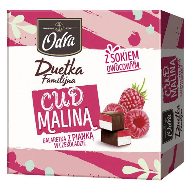 Chokladdragerad vaniljskum med hallongelé. Produkt av Polen.
