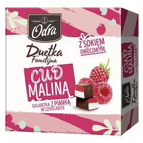 Chokladdragerad vaniljskum med hallongelé