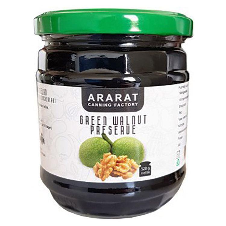 Valnötsmarmelad av gröna valnötter. Fruktmängd 40 g per 100 g .