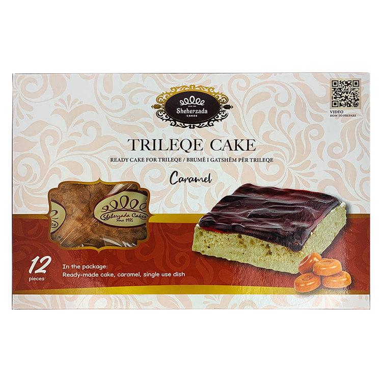"""Trilece - tremjölkstårta - Den heter Torta trés leches och på svenska; """"tremjölkstårta"""". Namnet syftar på att det i tårtan används tre sorters mjölkprodukter, nämligen kondenserad mjölk, evaporerad mj"""