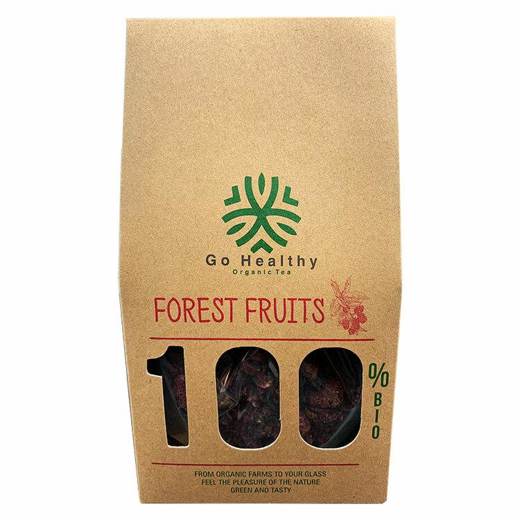 Skogsbär te med hallon 45%, vild jordgobbe 10%, blåbär 15%, björnbär 15%, hibiskus 5 %, vild ros 5%, tranbär 5%. Utan aromatiska tillsatser, konserveringsmedel och färgämne.