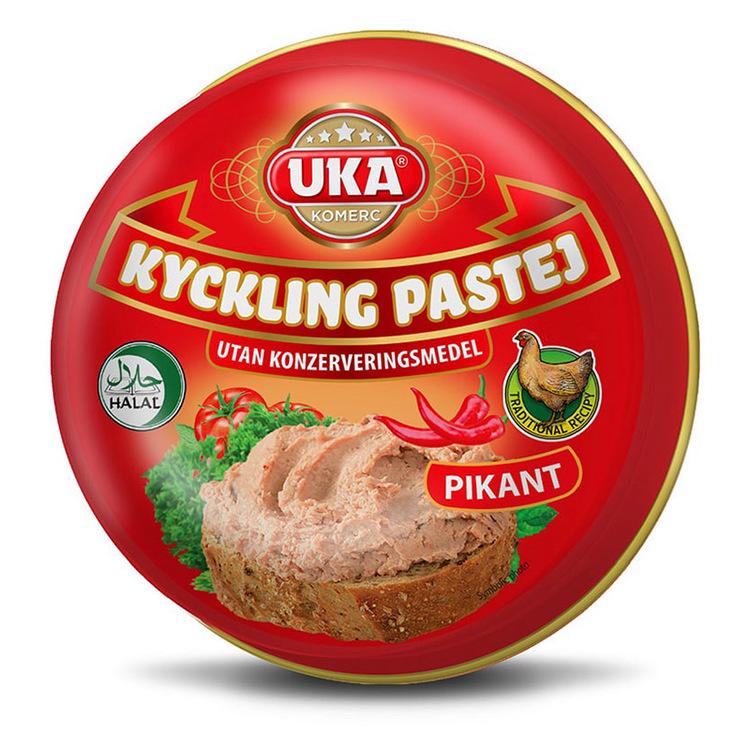 Kycklingpastej, bredbart pålägg med tillsats av mjölkprotein. Utan Konserveringsmedel. Utan Smakförstärkare, Utan Färgämnen. Glutenfri. Ursprungsland: Republiken norra Makedonien.