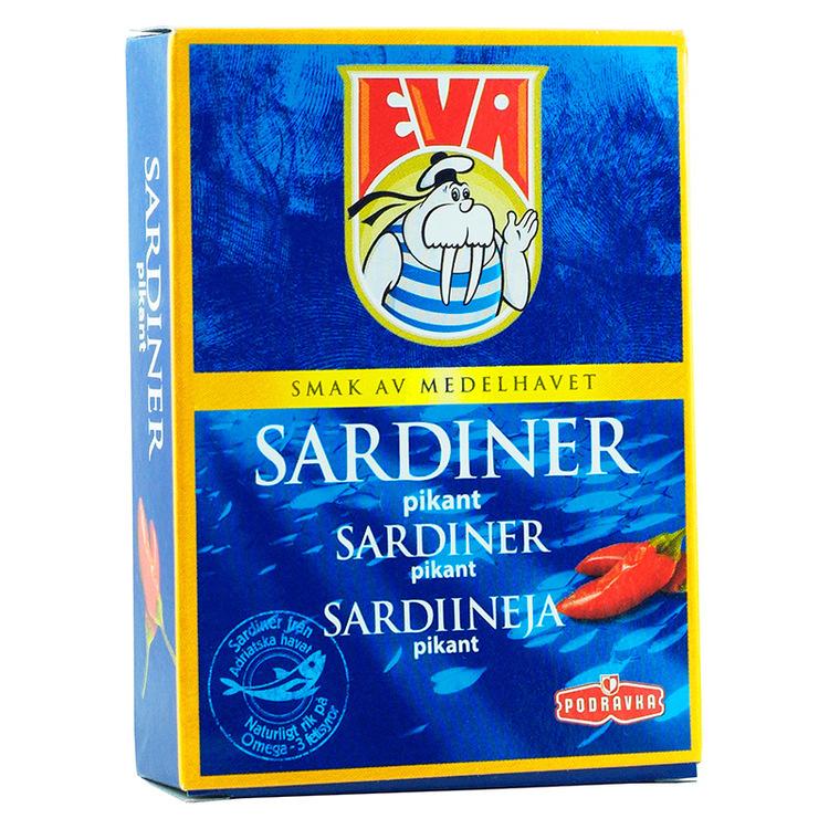Sardiner i vegetabilisk olja med starka feferoni. Naturlig källa av kalcium, omega-3 och fettsyror.
