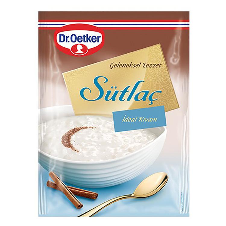 """Risgrynsgröt från Dr.Oetker. Förkokt ris inuti gör det mycket enkelt att förbereda, du behöver bara laga det med 750 ml mjölk. På baksidan av förpackningarna finns bakat """"Sütlaç"""" -recept och tips."""