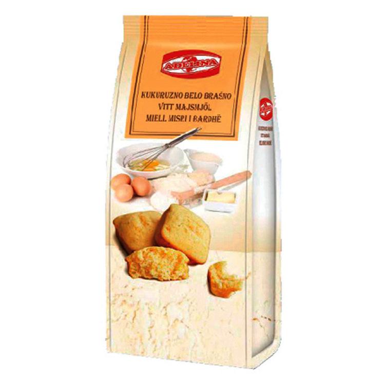 Finmalet vit majsmjöl. Det är naturligt glutenfritt. Vitt majsmjöl används i recepten med behov av inget eller mindre socker. Det är bättre för att göra bakverk och kakor.