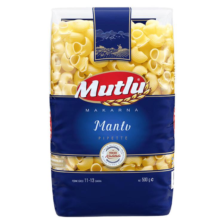 Mutlu Pasta lumaca (manti) är framställd av utvald grovkornad hård durumvete semolina enligt de italienska normerna. Pasta som produceras med denna typ av semolina har en fast (Al Dente) struktur, hög
