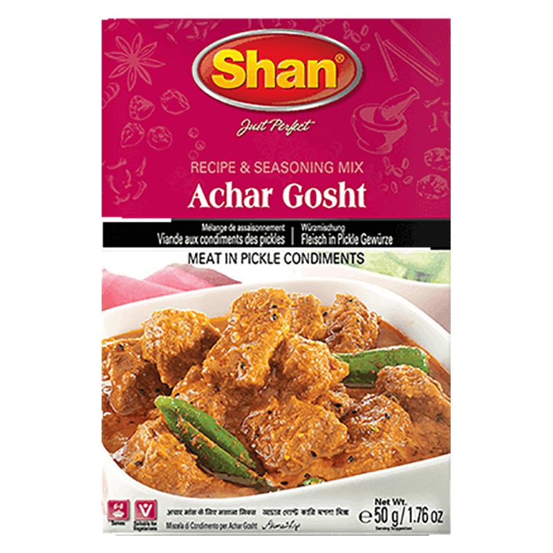 Kryddmarinerad till kött. Shan Achar Gosht kryddmixen hjälper dig att återskapa den autentiska traditionella smaken av Achar Gosht med sin perfekta blandning av rika och aromatiska kryddor.