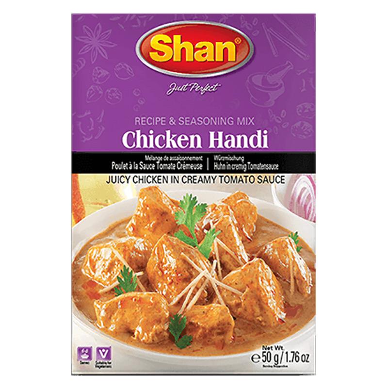Saftig kyckling i krämig tomatsås. Shan Chicken Handi Mix hjälper dig att förbereda den autentiska traditionella stekta curryn för en utsökt och aptitretande upplevelse.