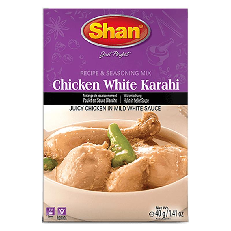 Saftig kyckling i mild vitsås. Shan Chicken White Karahi Mix hjälper dig att skapa en mild och len version av traditionell Karahi.