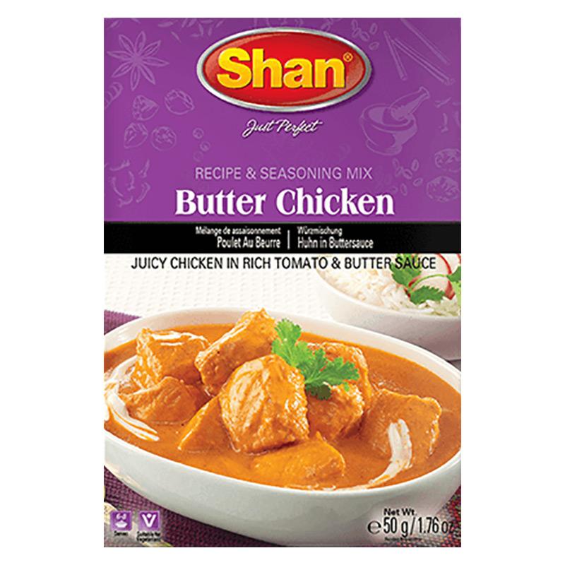 Saftig kycklinggryta i rik tomatsås. Shan Butter Chicken Mix hjälper dig att förbereda den krämiga och läckra Chicken Curry för en mättande måltid.