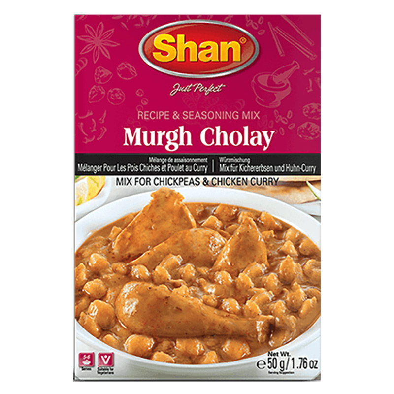 Kryddmix till kyckling- och kikärtscurry. Shan Murgh Cholay kryddmixen hjälper dig att förbereda äkta traditionell kyckling- och kikärtscurry, som är ett sant arv från Punjabiköket.