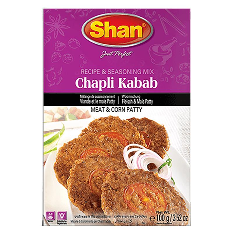 Chapli kabab, eller Chapli kebab, är en slags kött- och majspatty som är väldigt populär gatumat i många delar av Pakistan, Indien och Bangladesh. Shan Chapli Kabab Mix låter dig uppleva den autentisk