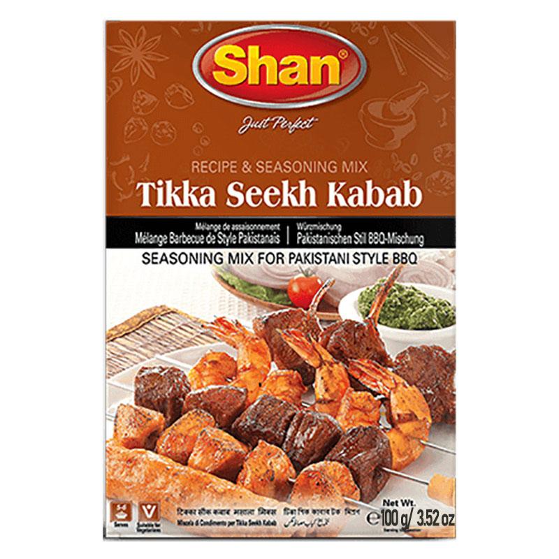 Kryddmix för pakistansk BBQ. Shan Tikka Seekh Kabab Mix är en komplett smakrik lösning för alla dina grillbehov, oavsett om det är kyckling, nötkött eller annat kött.