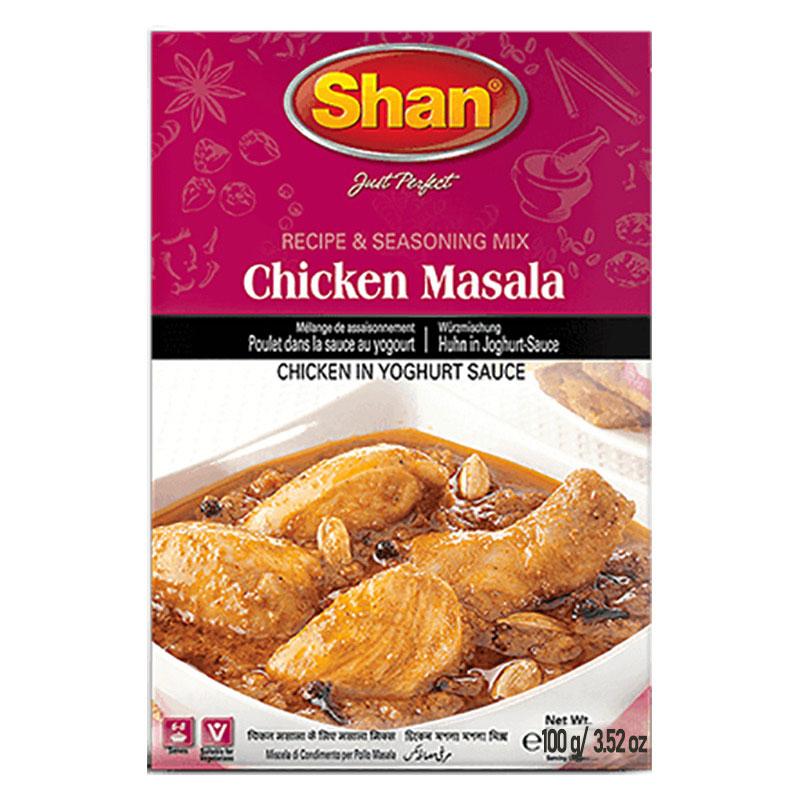 Chicken Masala är kyckling i yoghurtsås. Shan Chicken Masala-mix hjälper dig att förbereda rik och aromatisk kycklingcurry för en lockande och smakrik upplevelse.