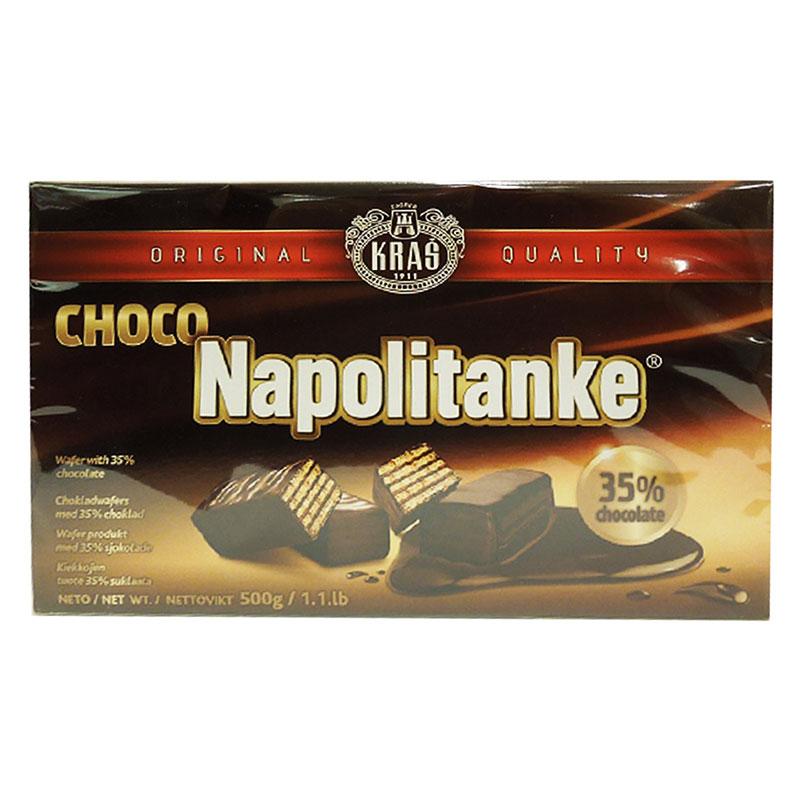 Wafers med härlig chokladfyllning 47% och chokladöverdrag 35%. Produkt från Kroatien. Minst 48% kakao i chokladöverdrag och minst 36,5% kakao i choklad.