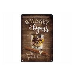 Plåtskylt Whiskey and Cigars