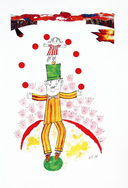Litografi Lilla Anna och Långa Farbrorn cirkus
