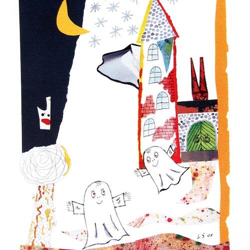 Litografi Lilla Spöket Laban på slottet